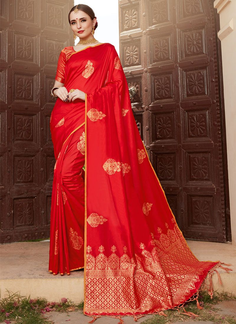 Art Silk Red Woven Traditional Designer Saree