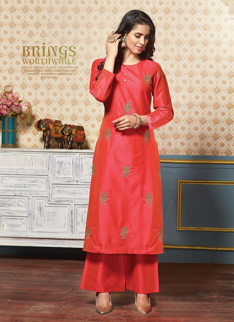 Art Silk Red Zari Party Wear Kurti