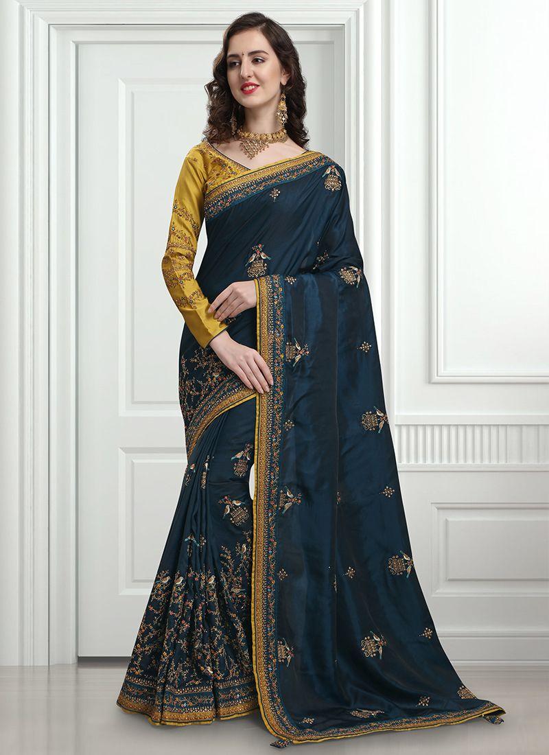 Art Silk Resham Designer Traditional Saree in Navy Blue