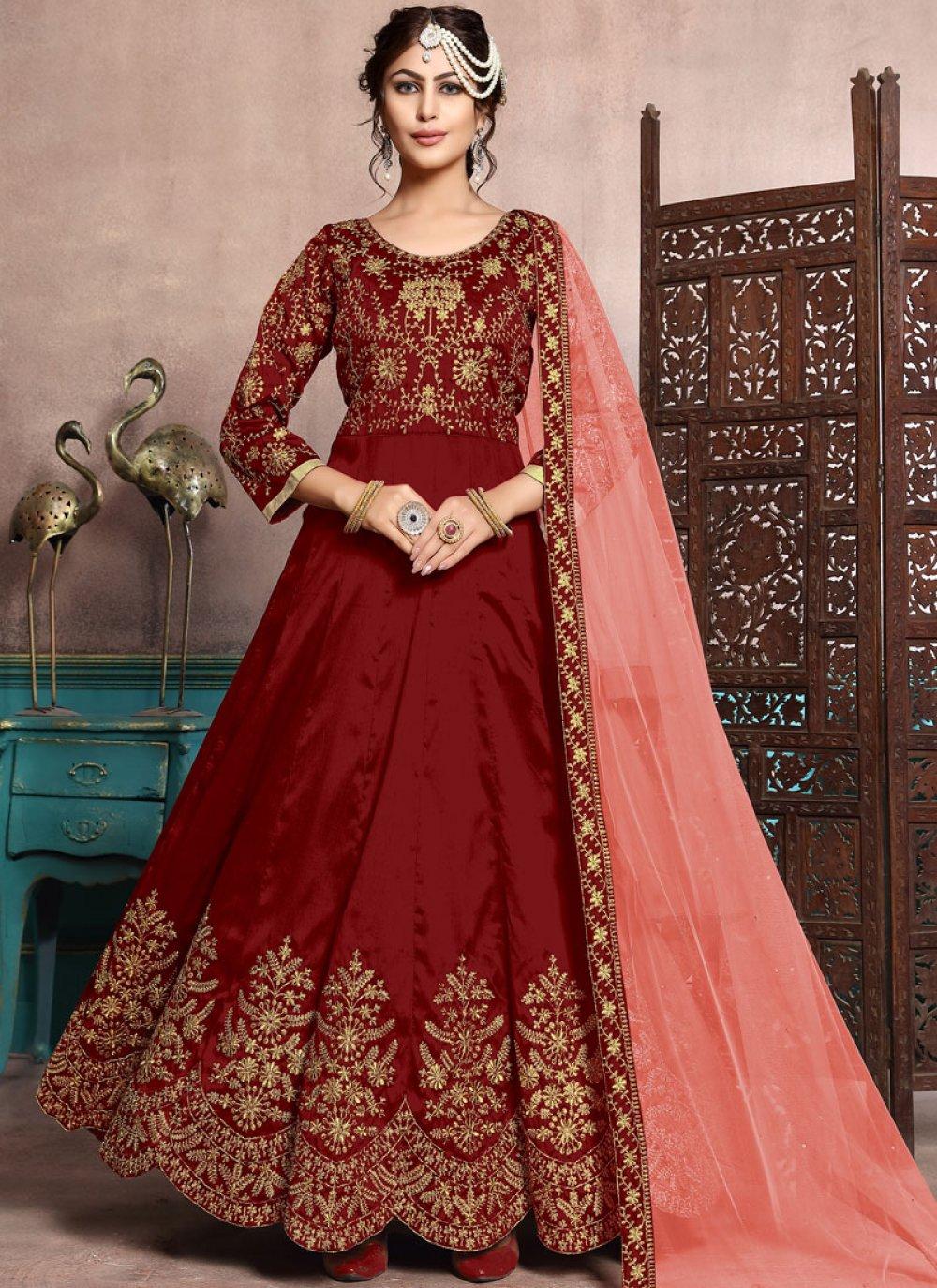 Art Silk Resham Floor Length Anarkali Suit in Maroon