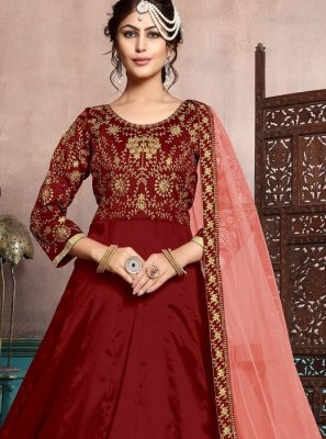 Art Silk Resham Floor Length Anarkali Suit in Maroon