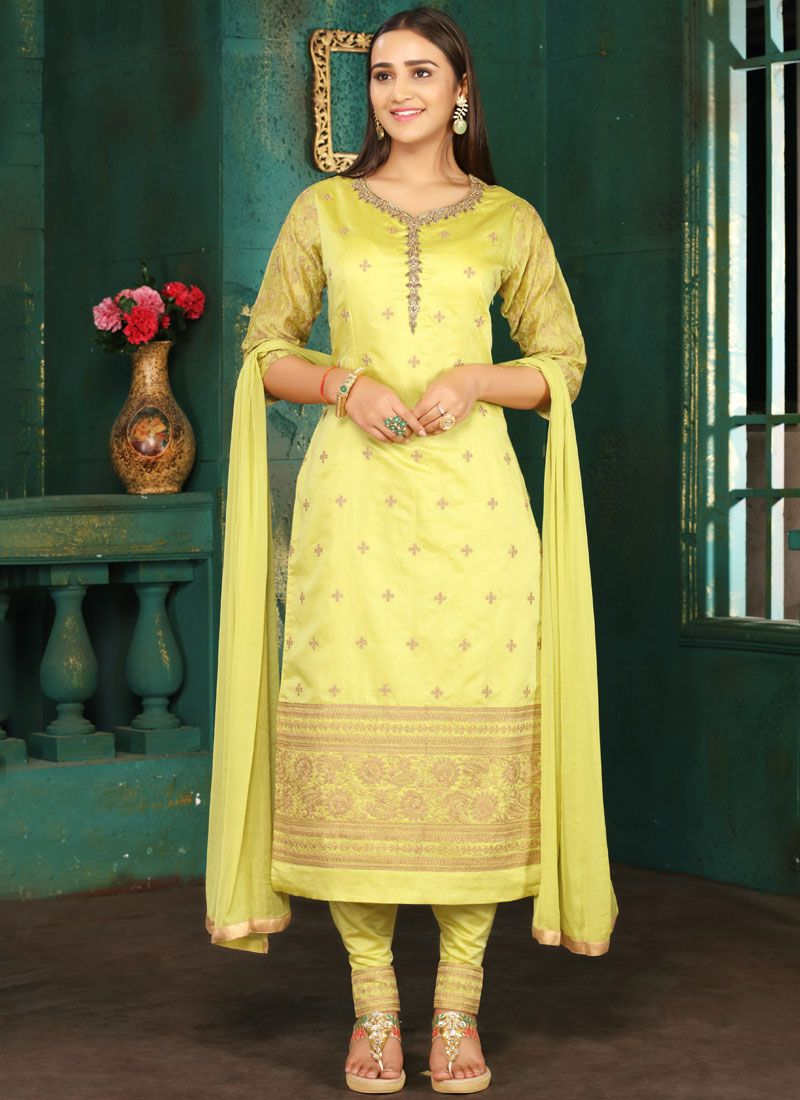 Art Silk Resham Green Readymade Suit