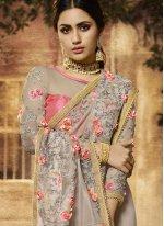 Art Silk Resham Grey Designer Traditional Saree