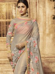 Art Silk Resham Grey Designer Traditional Saree