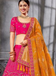 Art Silk Resham Hot Pink Lehenga Choli