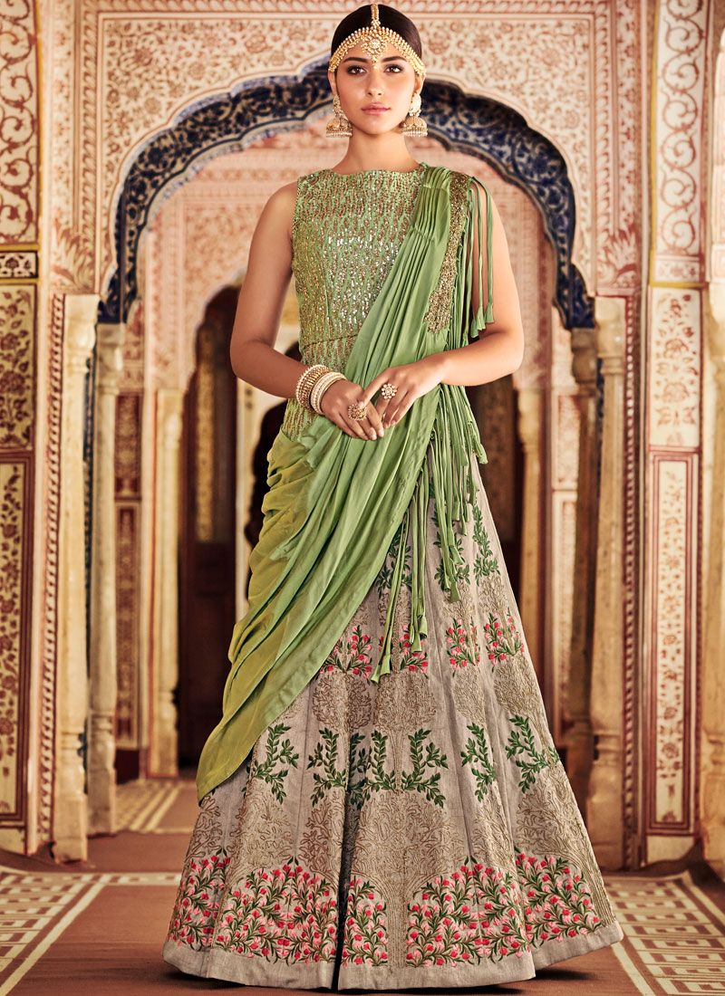Art Silk Resham Lehenga Choli in Green