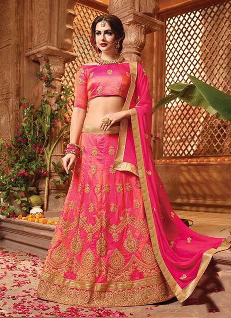 Art Silk Resham Lehenga Choli in Hot Pink