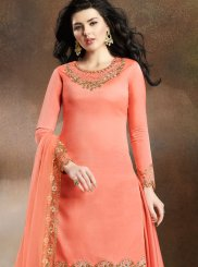 Art Silk Resham Peach Designer Pakistani Suit