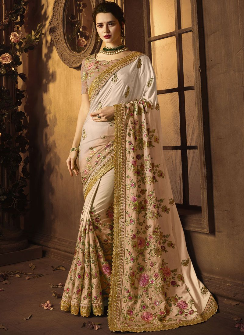 Art Silk Resham Peach Designer Traditional Saree