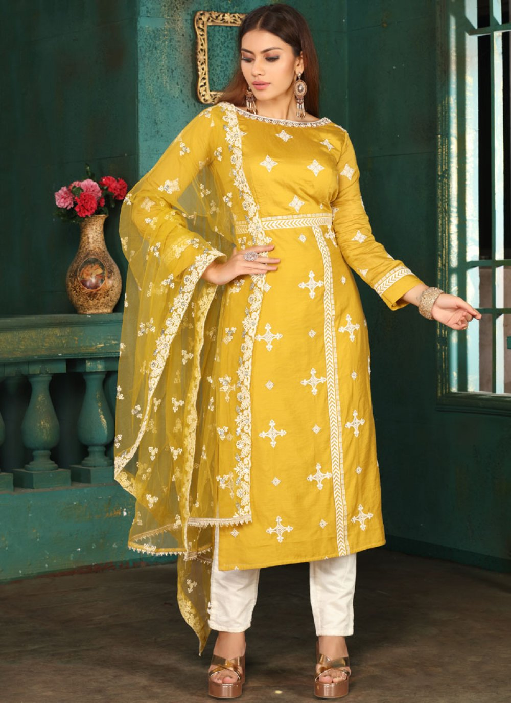 Art Silk Resham Readymade Suit in Mustard