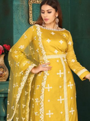 Art Silk Resham Readymade Suit in Mustard