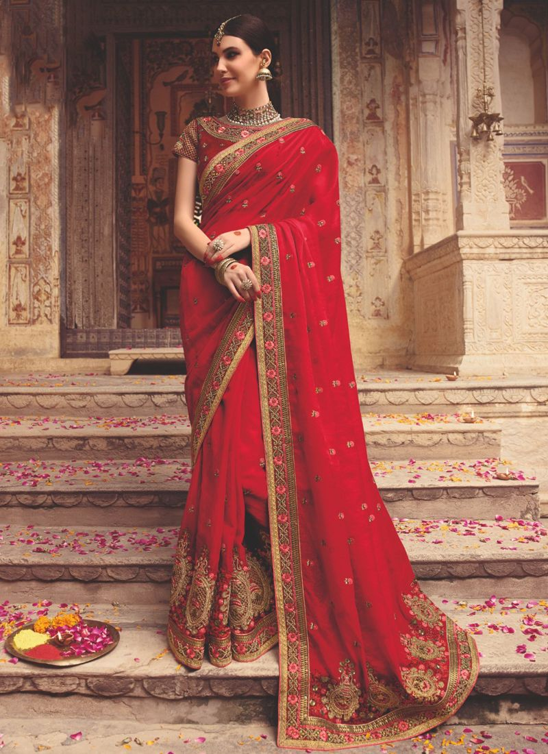 Art Silk Resham Red Designer Saree