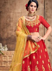 Art Silk Resham Red Lehenga Choli