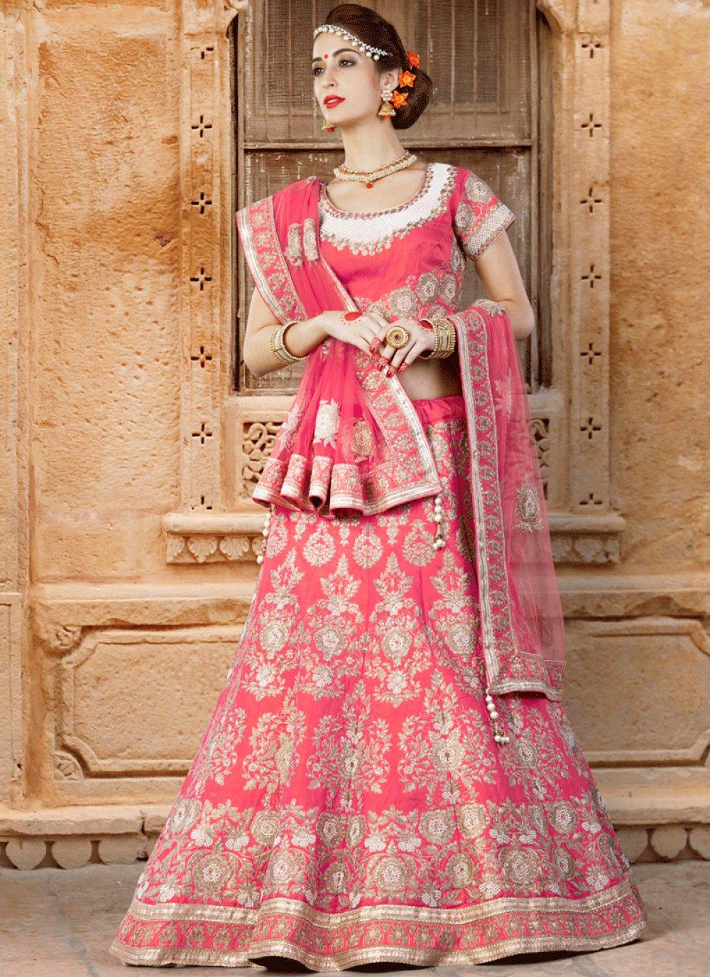 Art Silk Rose Pink Lehenga Choli