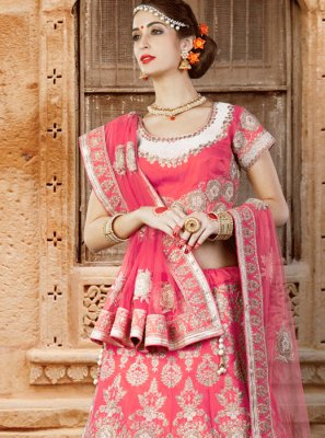 Art Silk Rose Pink Lehenga Choli