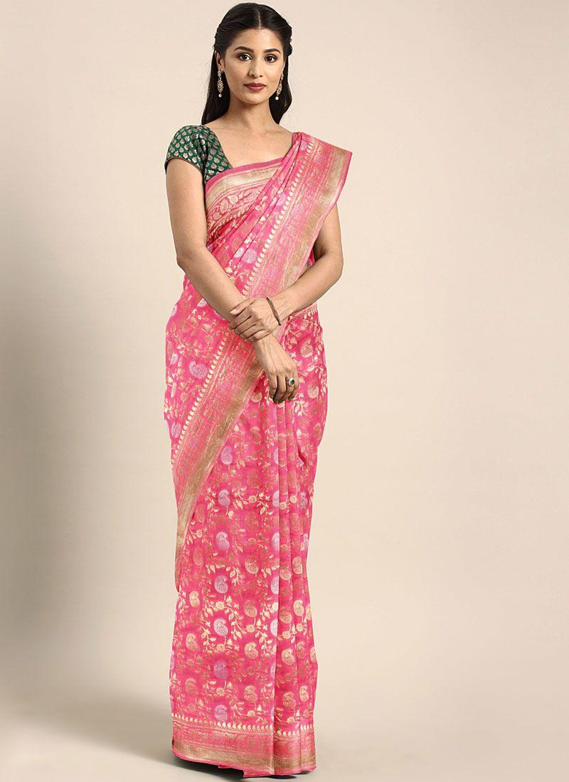 Art Silk Rose Pink Trendy Saree