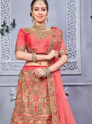 Art Silk Rose Pink Zari Work Lehenga Choli