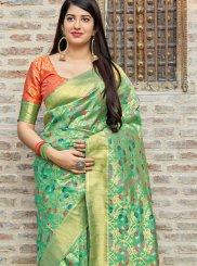 Art Silk Sea Green Designer Traditional Saree
