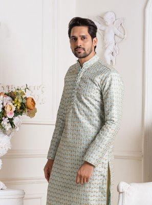 Art Silk Sea Green Embroidered Kurta Pyjama