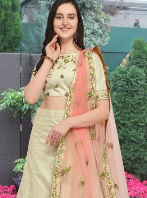 Art Silk Sea Green Embroidered Lehenga Choli