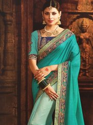 Art Silk Sea Green Half N Half  Saree