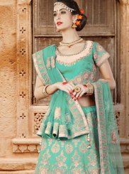 Art Silk Sea Green Lehenga Choli