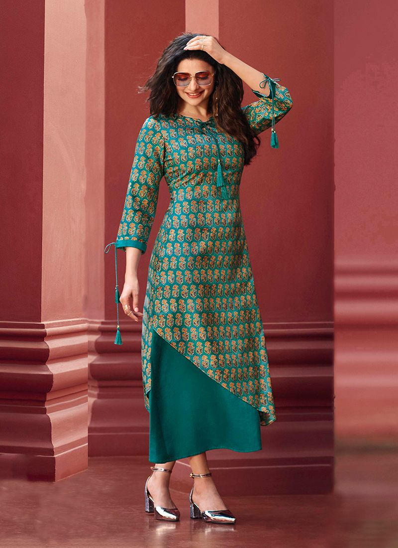 Art Silk Sea Green Print Party Wear Kurti