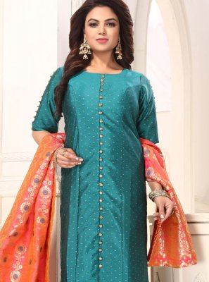Art Silk Sea Green Readymade Suit