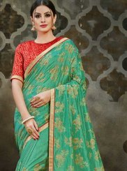 Art Silk Sea Green Traditional Designer Saree