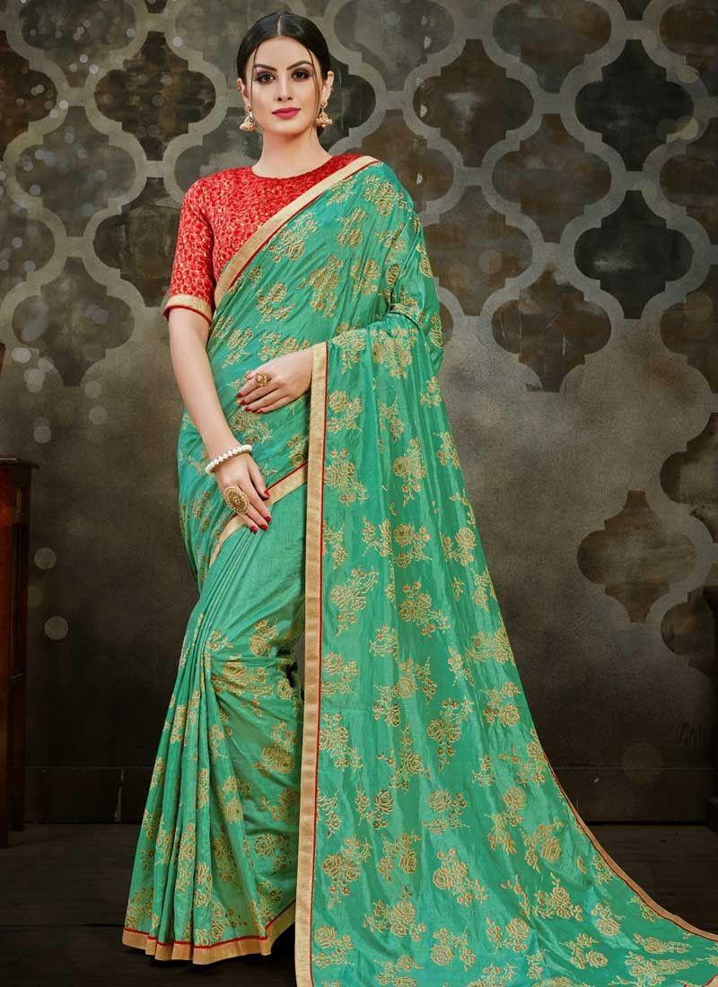 Art Silk Sea Green Traditional Designer Saree