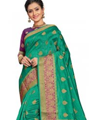 Art Silk Sea Green Weaving Traditional Saree