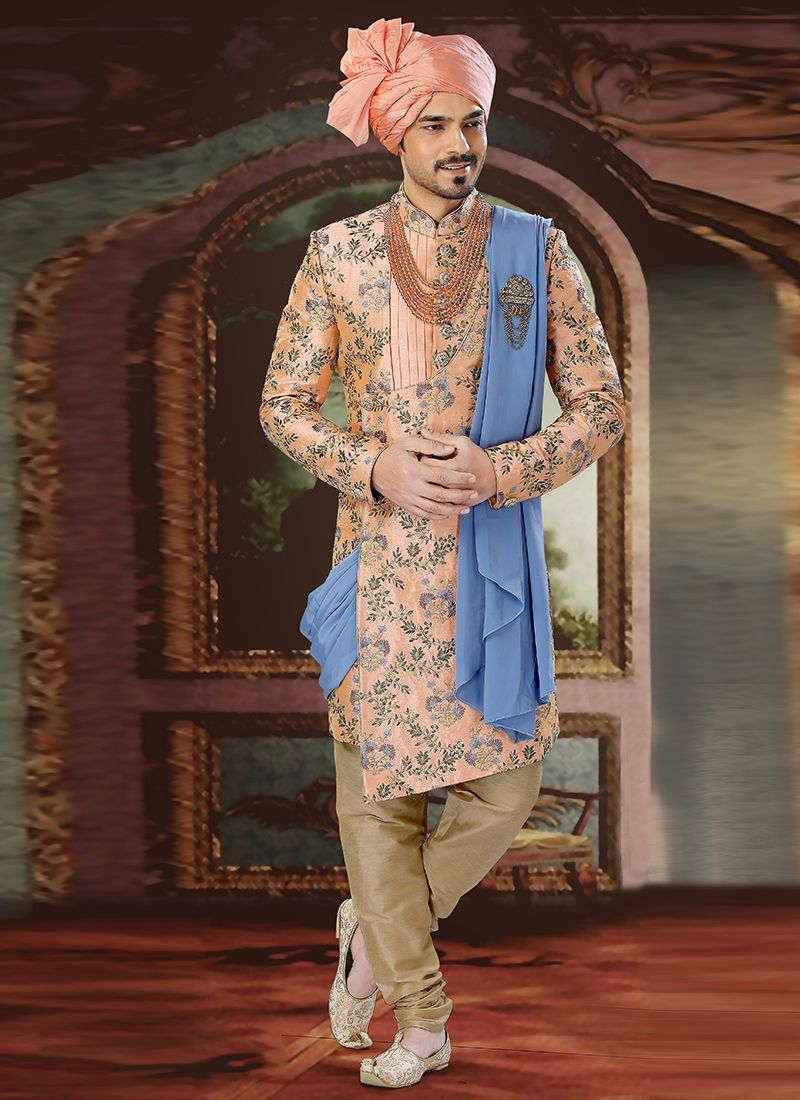 Art Silk Sherwani in Peach