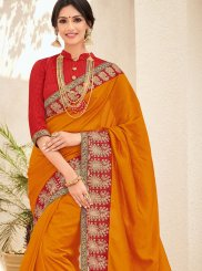 Art Silk Stone Orange Trendy Saree
