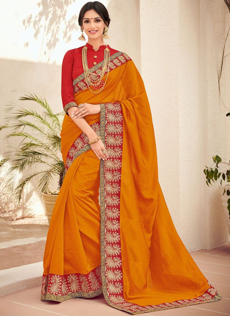 Art Silk Stone Orange Trendy Saree