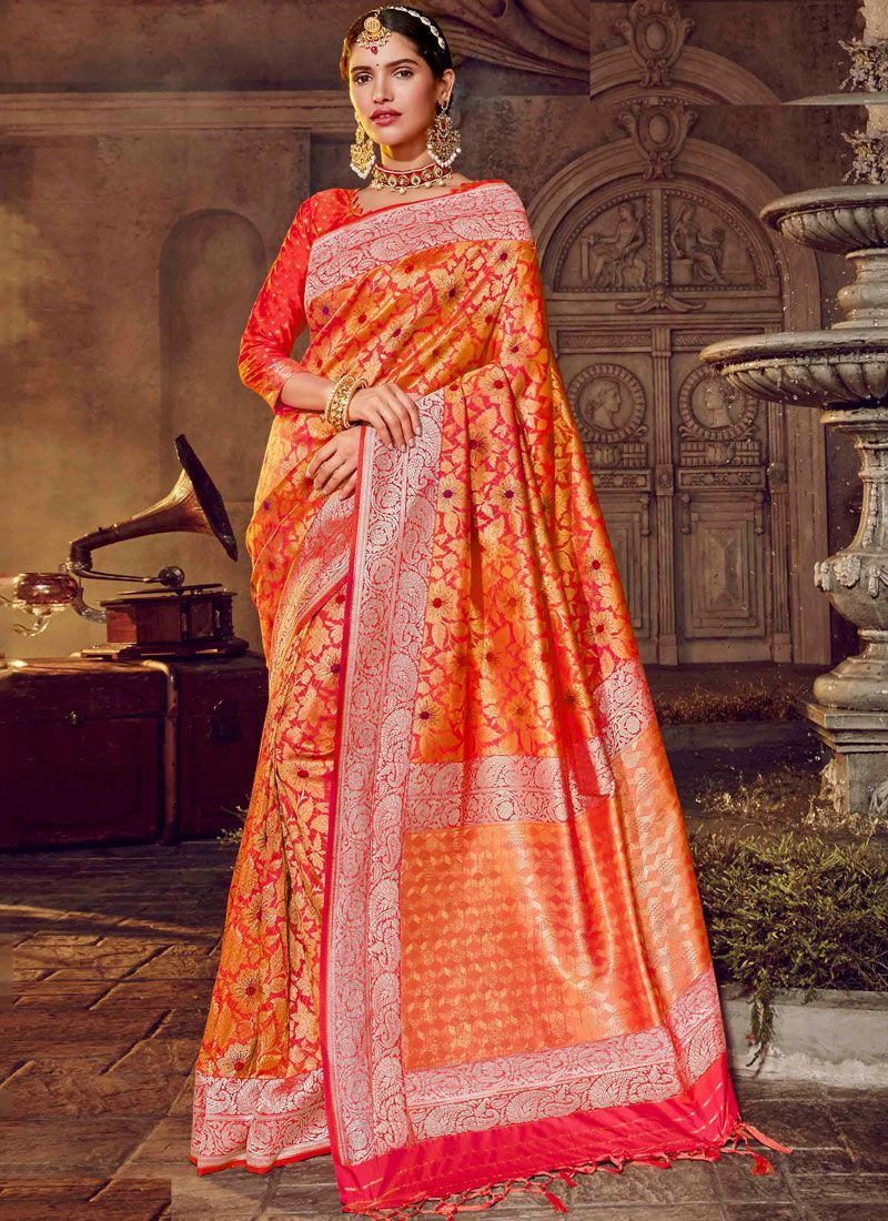 Art Silk Stone Work Orange Classic Designer Saree
