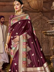 Art Silk Stone Work Purple Classic Designer Saree