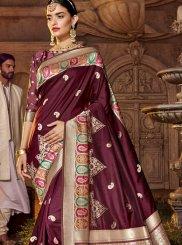 Art Silk Stone Work Purple Classic Designer Saree