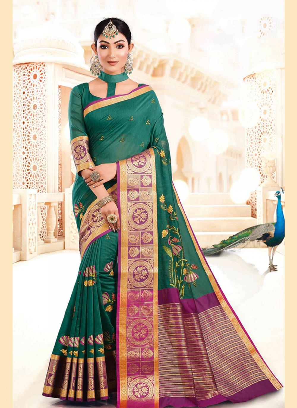 Art Silk Teal Designer Traditional Saree
