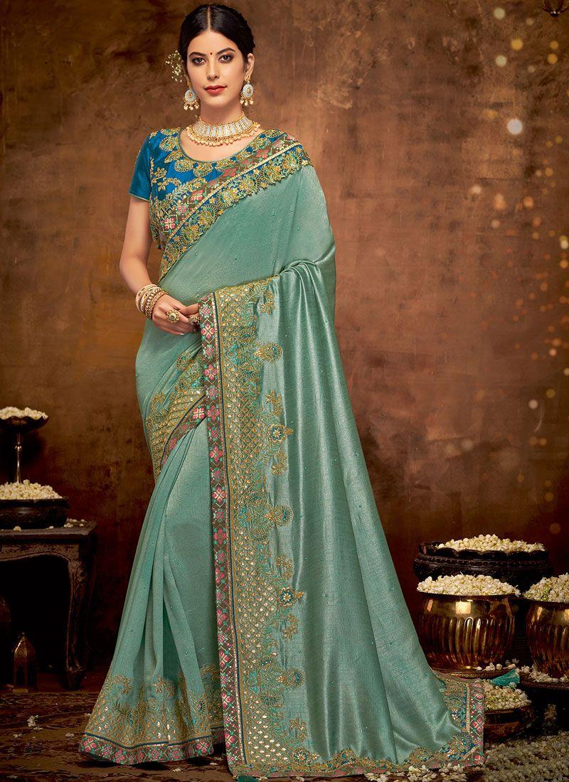 Art Silk Teal Embroidered Traditional Designer Saree