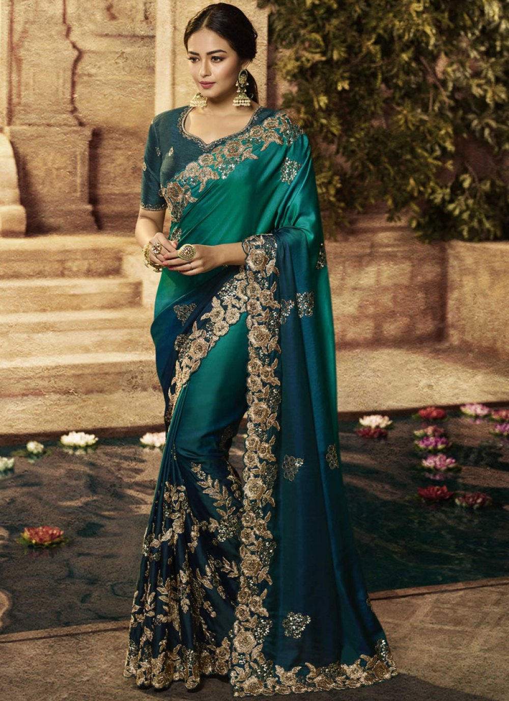Art Silk Teal Patch Border Traditional Designer Saree