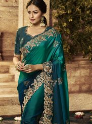 Art Silk Teal Patch Border Traditional Designer Saree