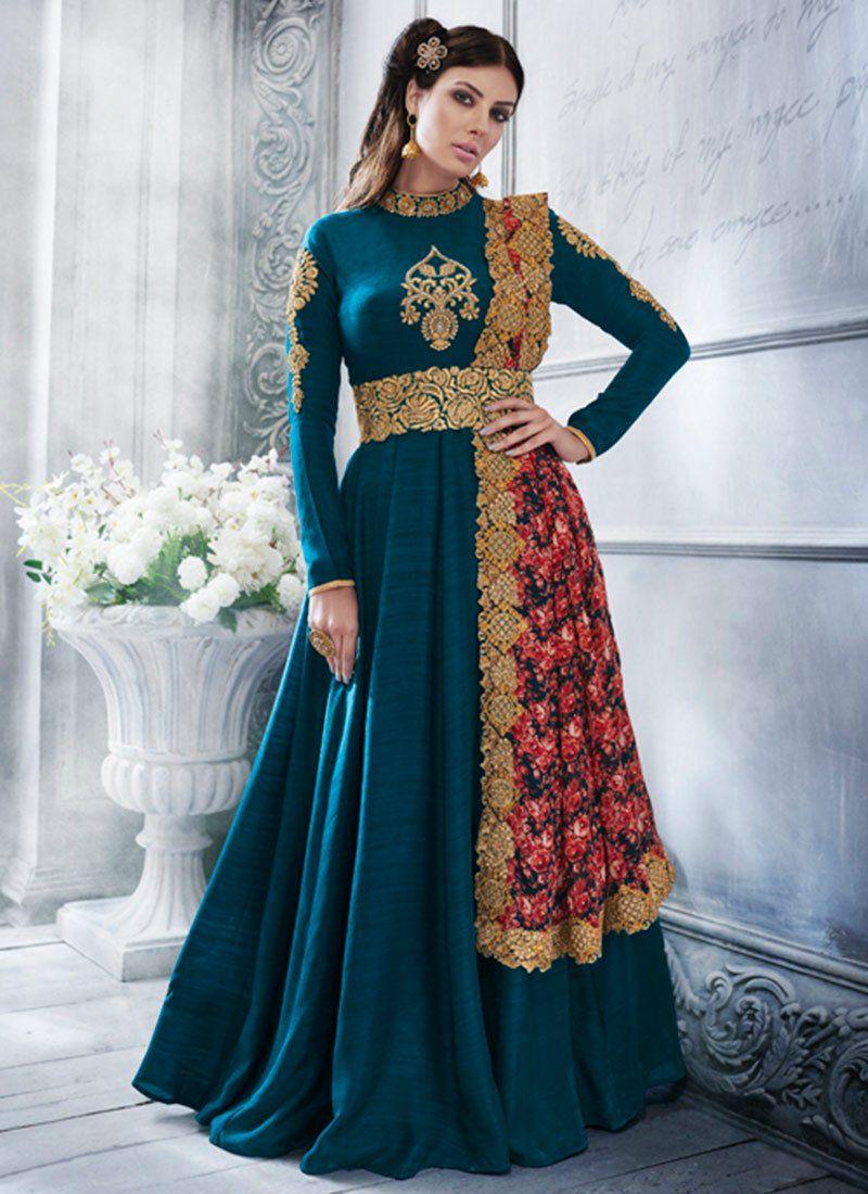 Art Silk Teal Resham Work Floor Length Anarkali Suit