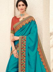 Art Silk Teal Trendy Saree