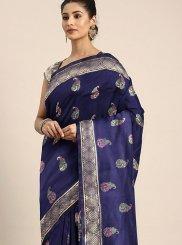 Art Silk Traditional Designer Saree in Blue
