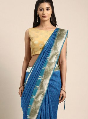 Art Silk Traditional Designer Saree in Blue