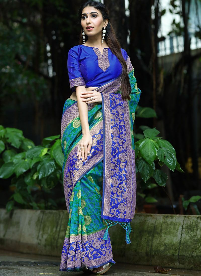Art Silk Traditional Designer Saree in Blue and Green