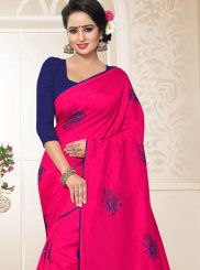 Art Silk Traditional Designer Saree in Hot Pink