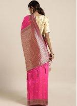 Art Silk Traditional Designer Saree in Hot Pink