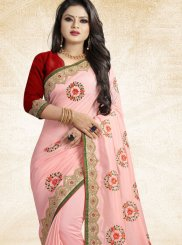 Art Silk Traditional Designer Saree in Pink