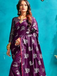 Art Silk Traditional Designer Saree in Purple